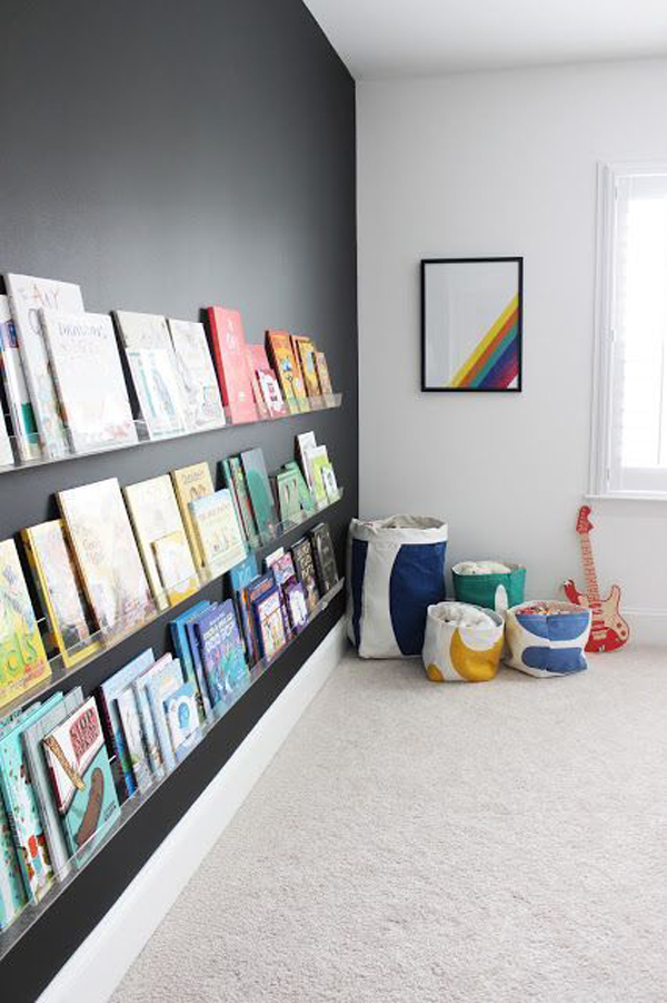 rainbow-theme-home-library-with-black-wall