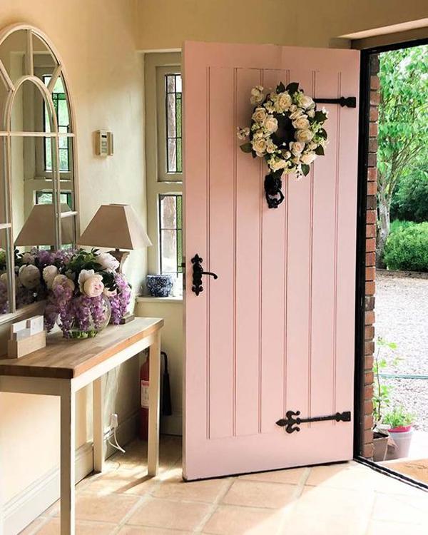 rustic-pastel-pink-front-door-designs