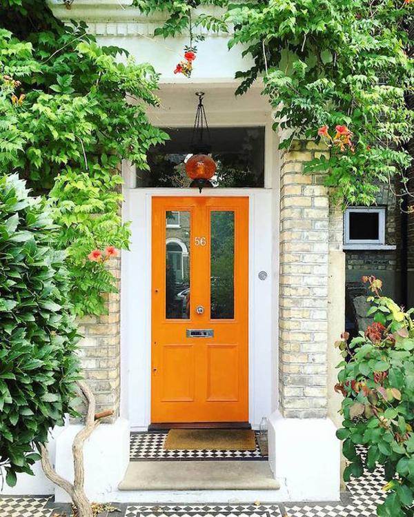 welcoming-orange-front-door-color