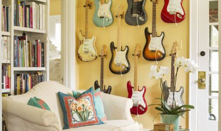 diy-guitar-display-ideas-in-the-living-room