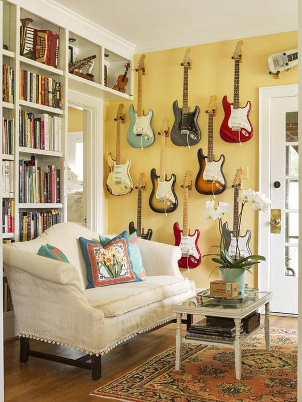 diy-guitar-display-ideas-in-the-living-room