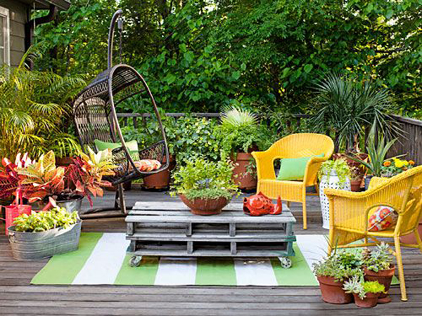 colorful-diy-backyard-deck-with-hanging-chair