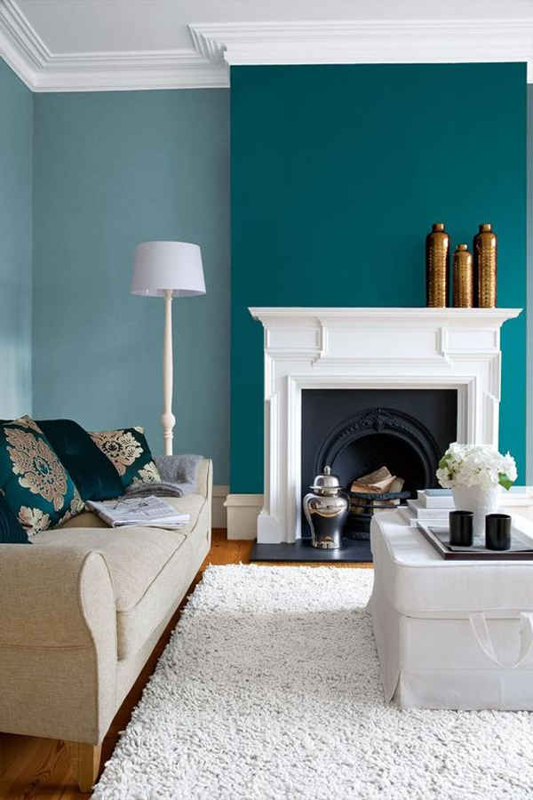 shabby-chic-turquoise-living-room-with-fireplace
