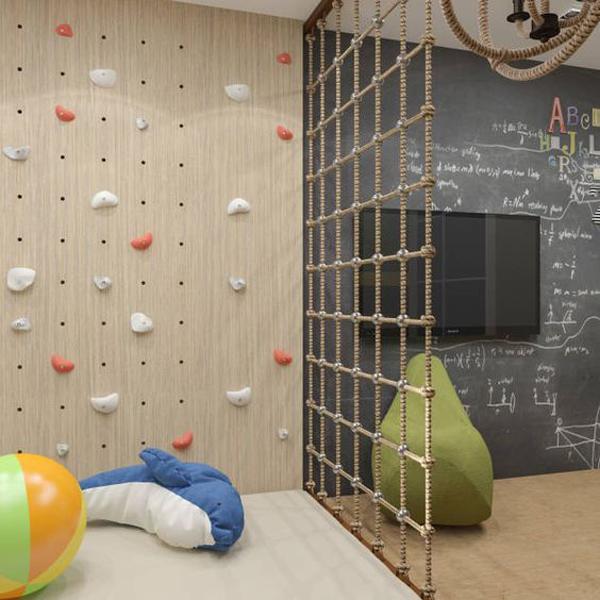 tv-wall-area-with-kid-climbing-wall