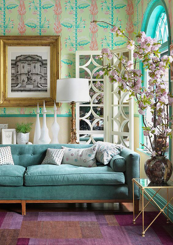 vintage-turquoise-living-room-with-wallpaper
