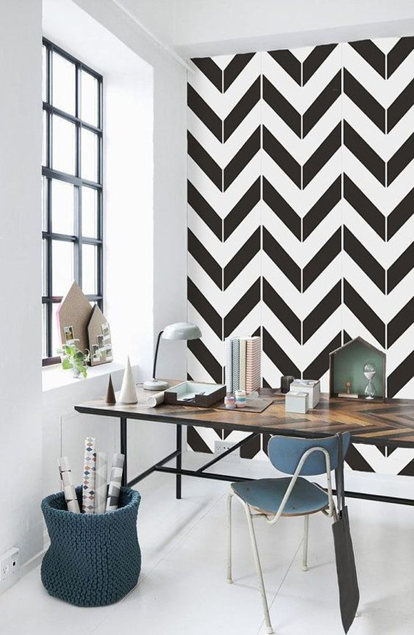 black-and-white-home-office-wallpaper