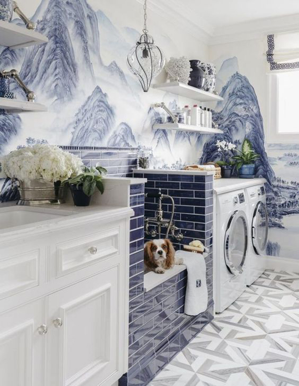 blue-laundry-space-with-dog-washing-station