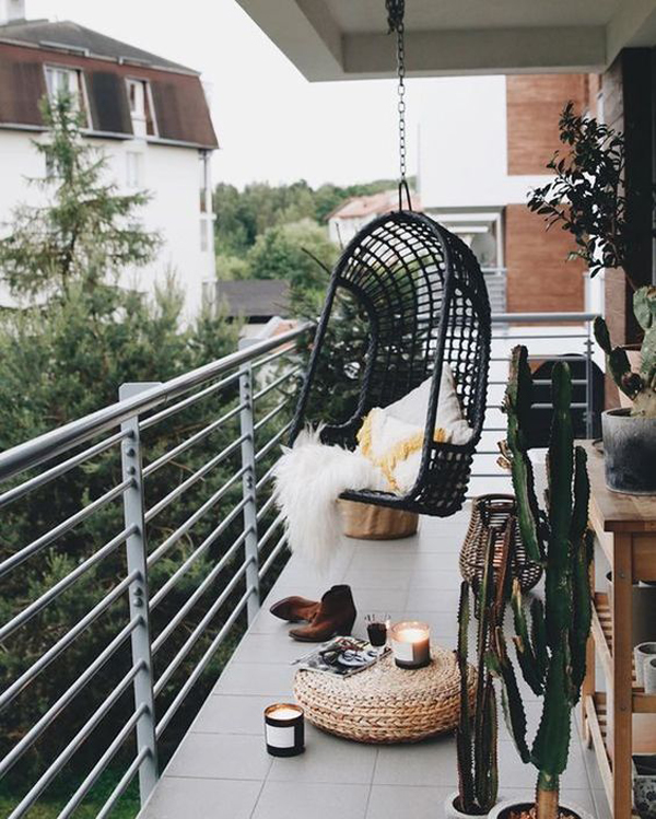 boho-black-balconies-with-hanging-chairs