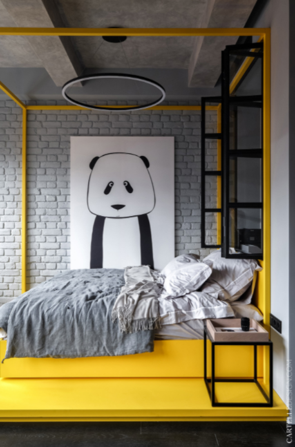 bold-yellow-bed-with-large-panda-posters
