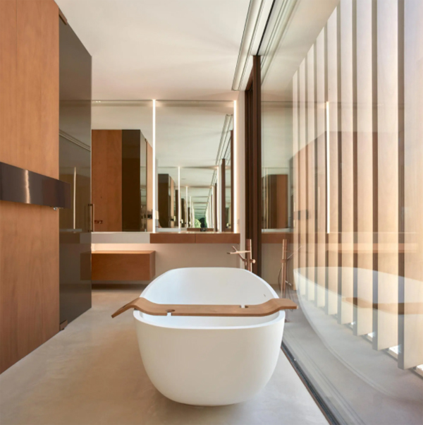 contempory-bathtub-with-wood-accents