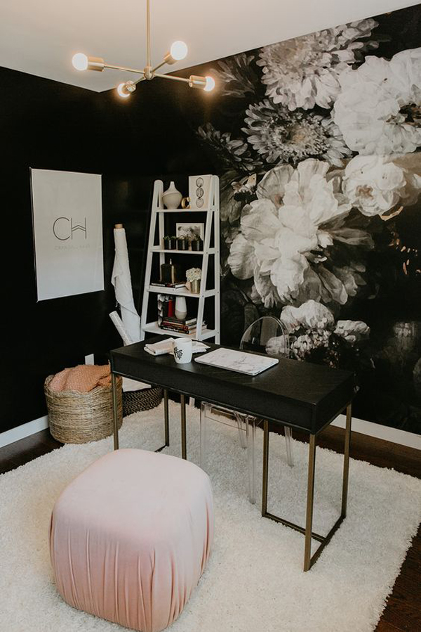 dark-home-office-with-floral-wallpaper-details