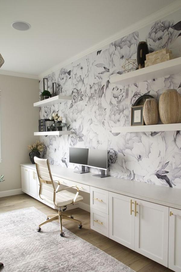 farmhouse-floral-home-office-wallpaper-ideas