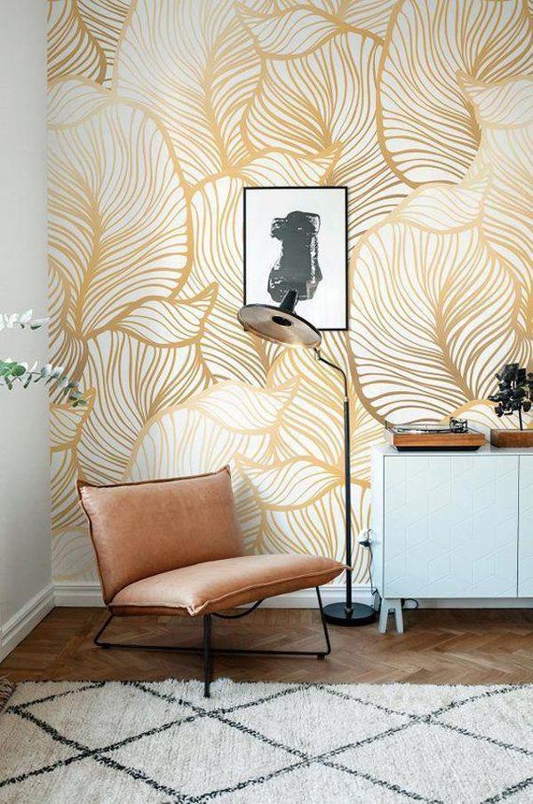 grey-leaf-wallpaper-for-reading-nook