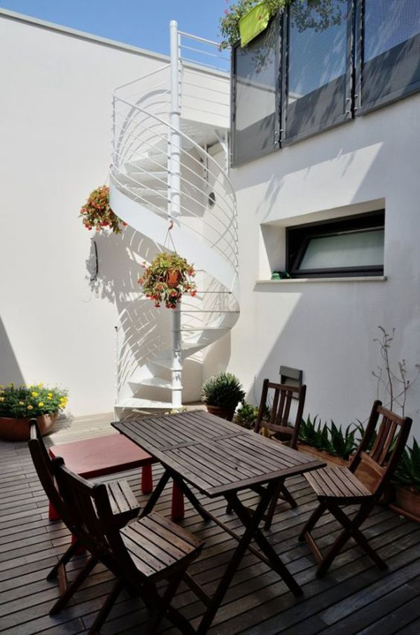 outdoor-dining-areas-with-spiral-staircase-design