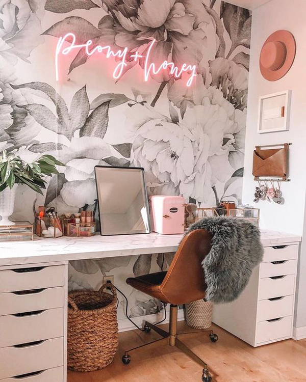 pretty-flower-home-office-wallpaper-with-neon-light