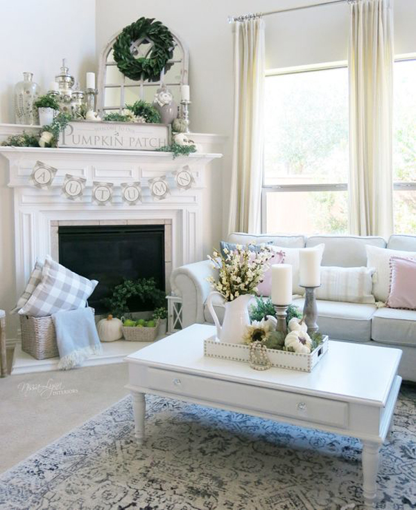 romantic-fall-fireplace-with-pops-of-green