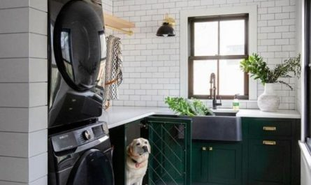 rustic-laundry-room-with-dog-houses
