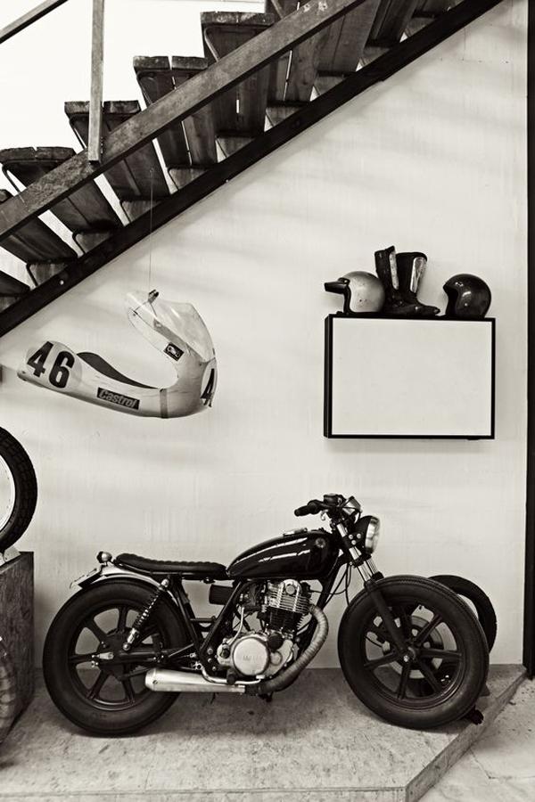 understairs-motorcycle-garage-with-helmet-rack