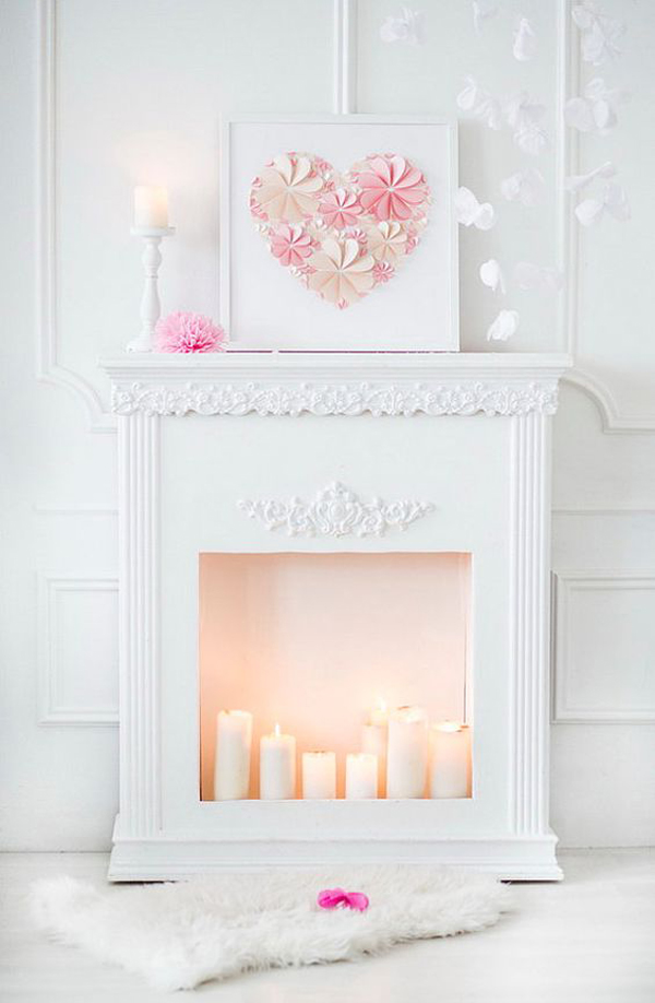 white-and-pink-romantic-candle-fireplace