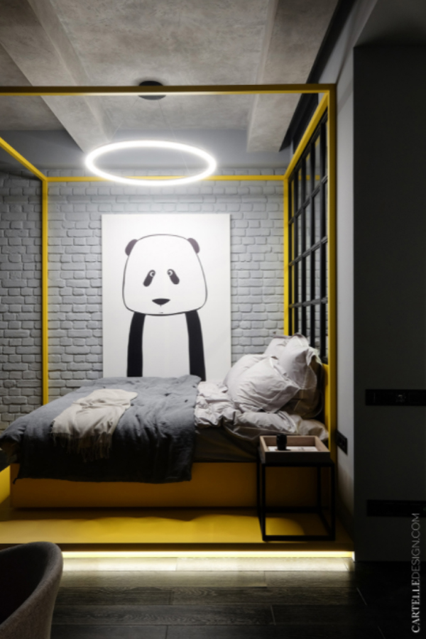 yellow-bed-with-LED-round-lights