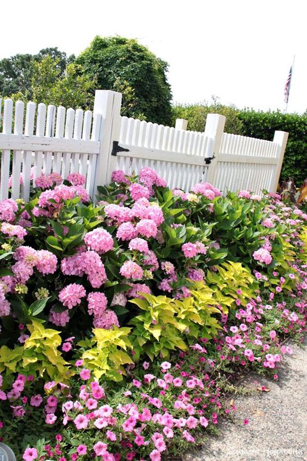 adorable-pink-flower-fence-gardens