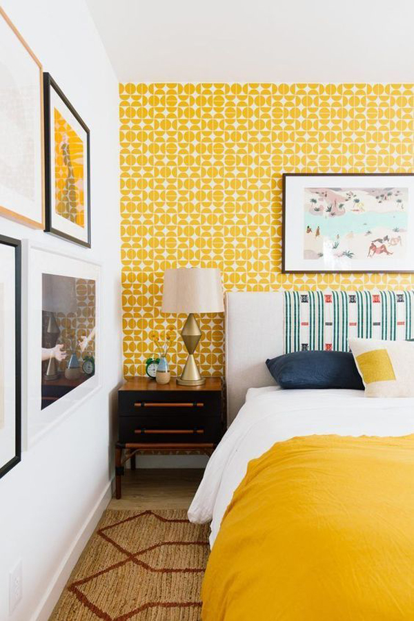 bold-yellow-accent-wall-for-bedroom