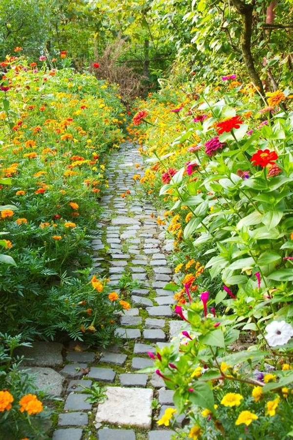 cottage-flower-garden-decor-with-stone-pathway