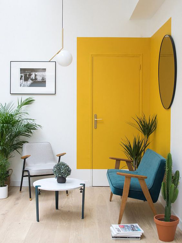 creative-yellow-color-blocked-accent-wall