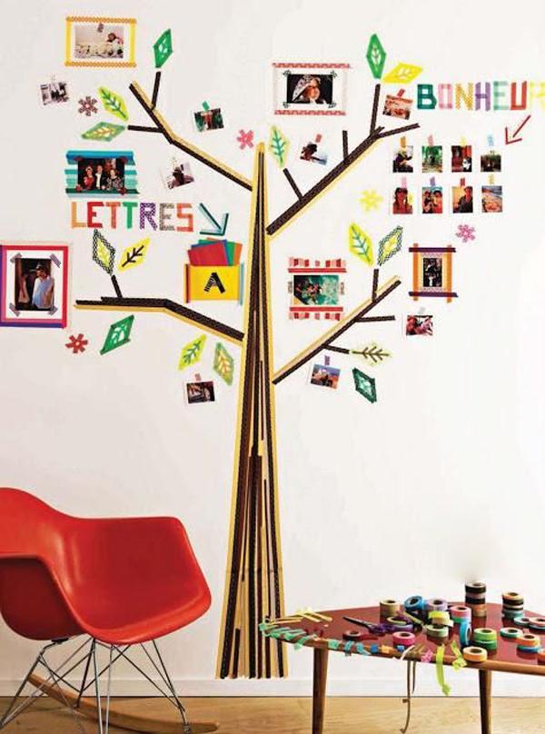 cute-washi-tape-tree-wall-ideas