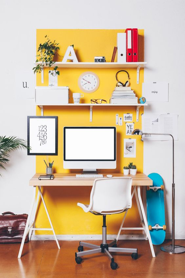 fun-home-office-design-with-yellow-accent-wall