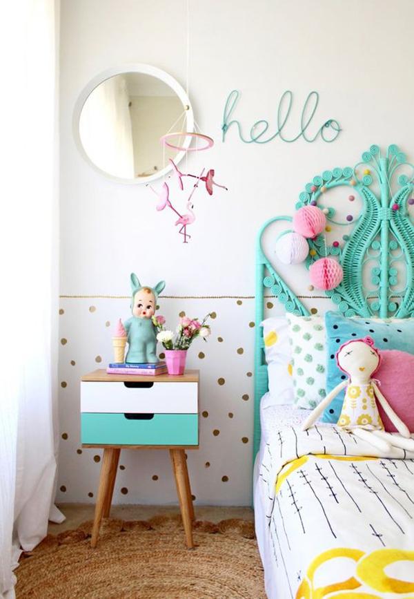 half-gold-polkadot-bedroom-wall