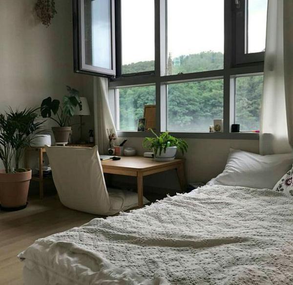home-office-floor-desk-with-indoor-plant