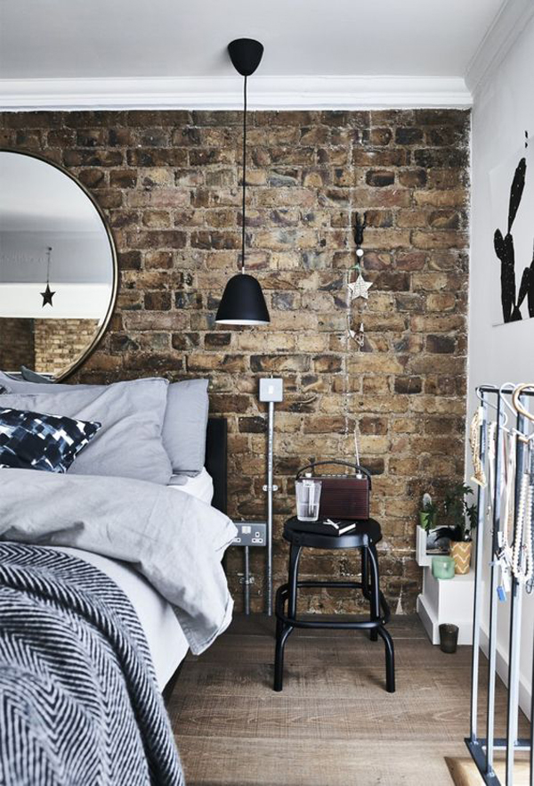industrial-bedroom-with-brick-wall-decor