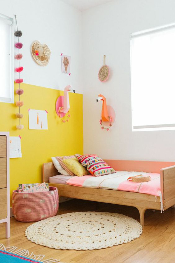 kids-bedroom-design-with-yellow-accent-wall