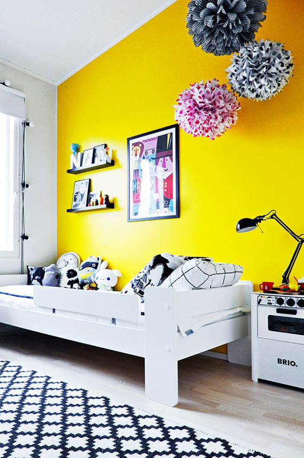kids-bedroom-ideas-with-yellow-wall-paint