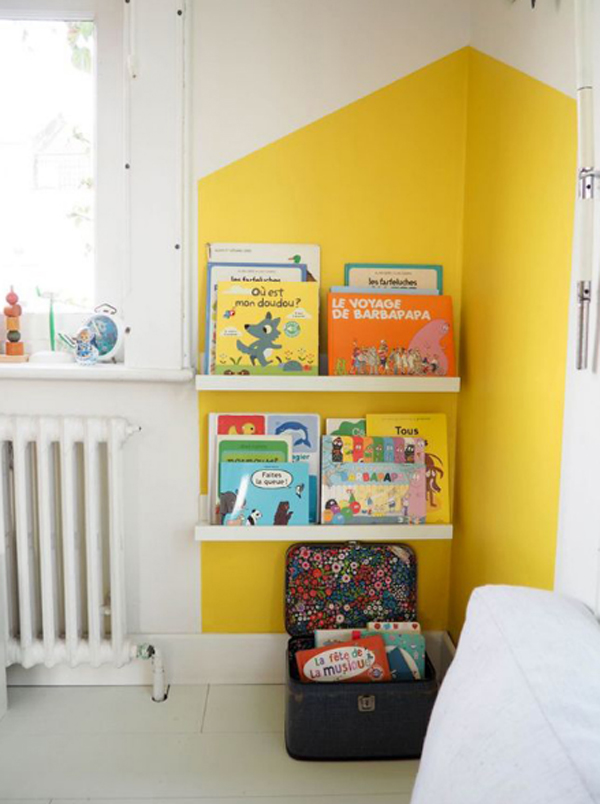 kids-reading-nook-with-yellow-accent-walls