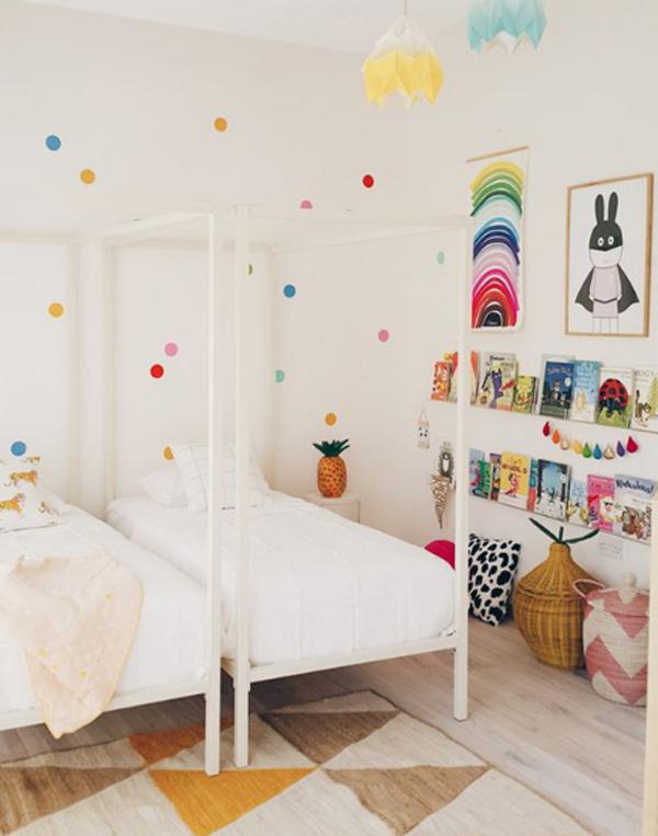 kids-shared-bedroom-with-polkadot-wall