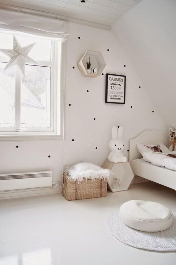 minimalist-kids-bedroom-design-with-polka-dot-wall