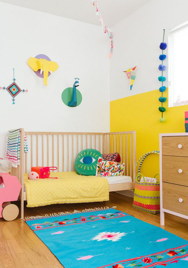 minimalist-nursery-with-yellow-accent-walls
