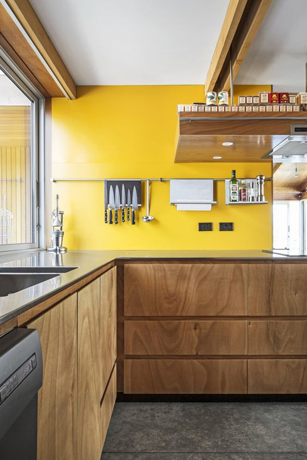 modern-wood-kitchen-design-with-yellow-accent-wall