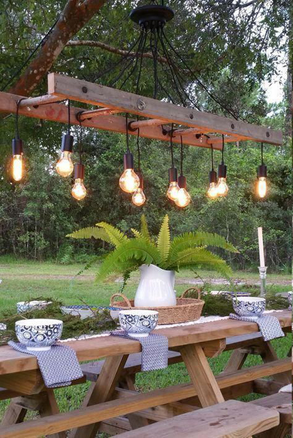 outdoor-antique-ladder-light-for-dining-area
