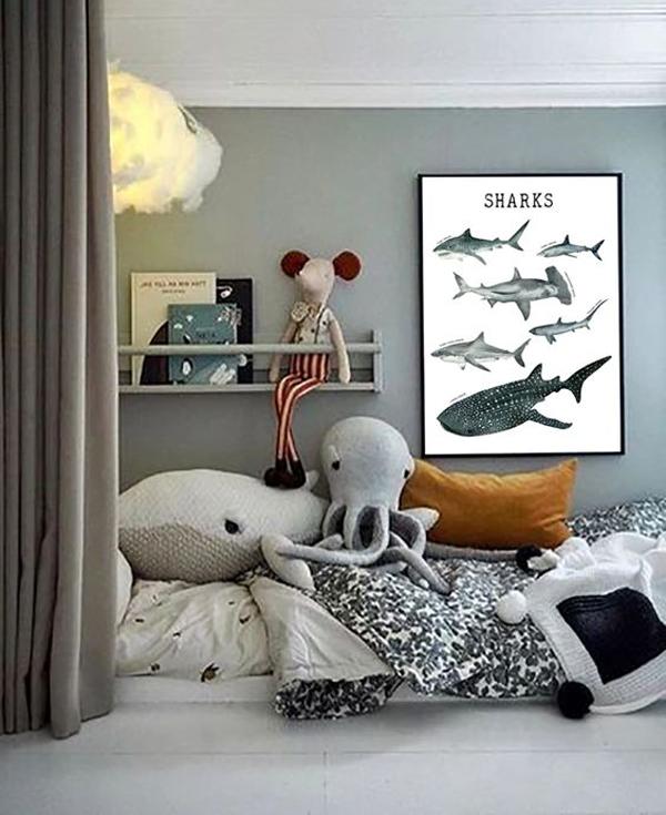 seaside-kid-bedroom-with-educational-print-poster