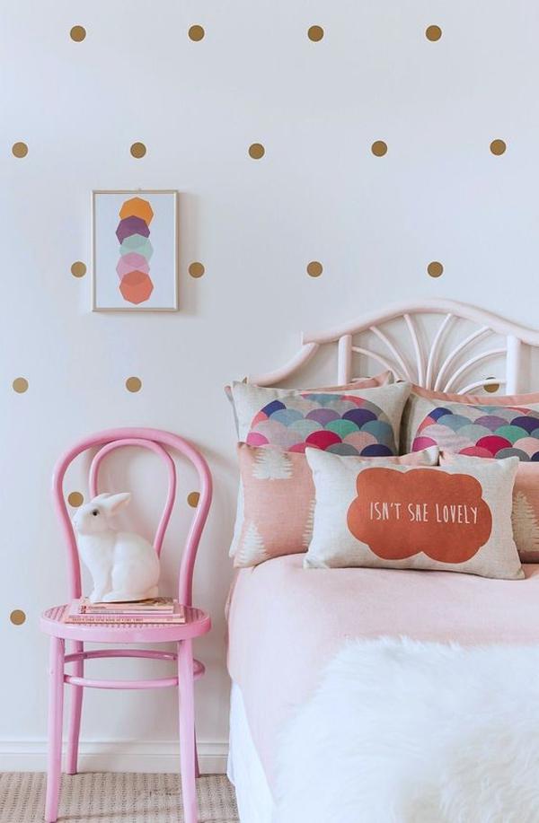 stylish-gold-polka-dot-bedroom-wall