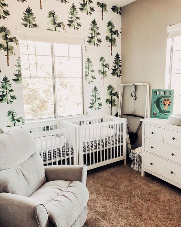 white-twin-nursery-with-nature-wallpaper