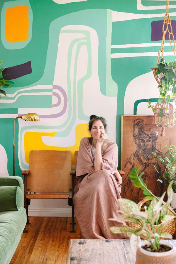 colorful-wall-murals-with-indoor-plants