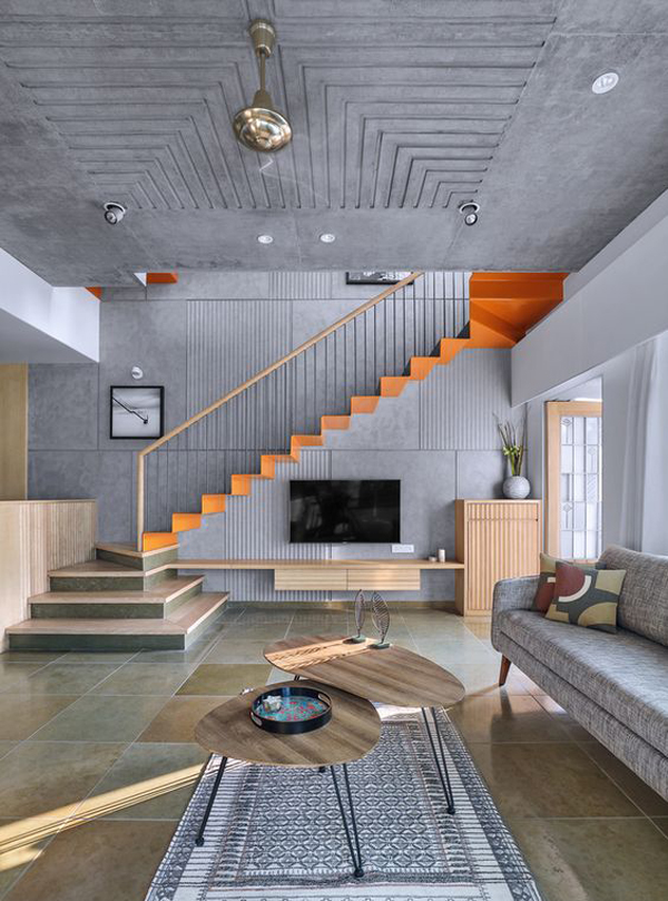 contempory-grey-interior-with-under-stair-tv-wall