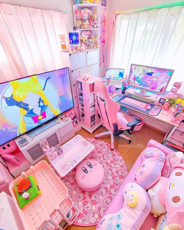 cute-pink-gaming-room-design-for-girl