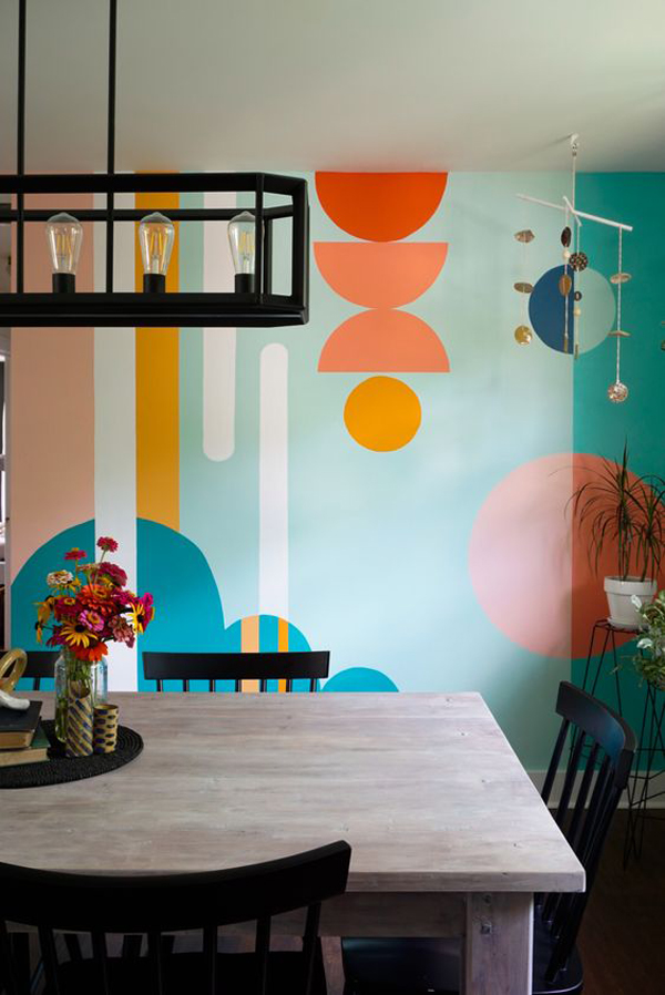 farmhouse-dining-room-with-paint-wall-mural