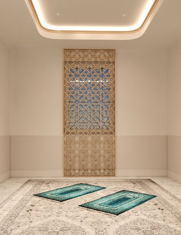 glam-prayer-room-with-ceiling-light