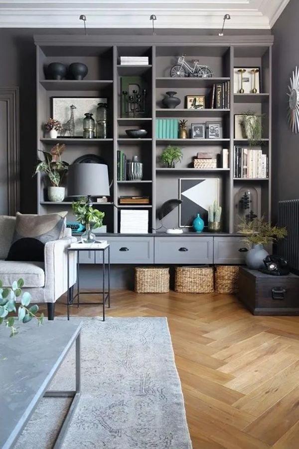 grey-ikea-billy-bookcase-wall-display